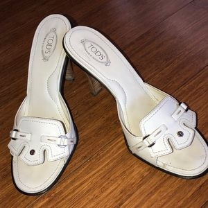 Tod's white leather high heel shoes